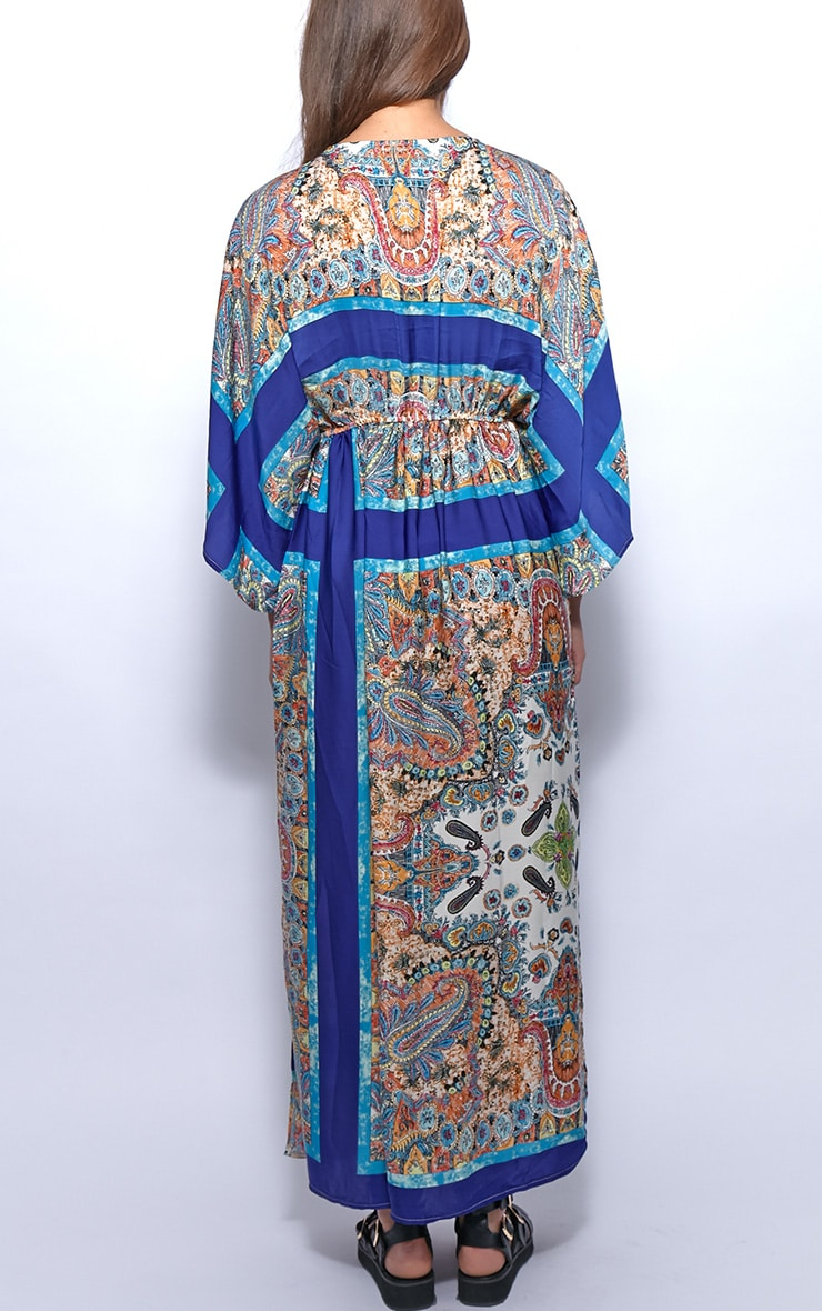 Molly Blue Paisley Print Maxi Kaftan Dress 2