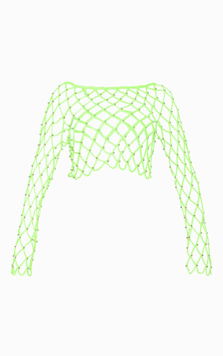 Neon Lime Crochet Beaded Long Sleeve Top  4