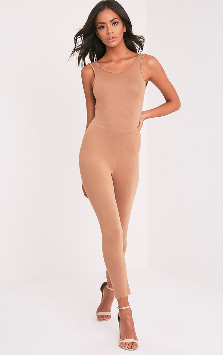 Katie Camel Scoop Back Fitted Cropped Leg Jumpsuit 5