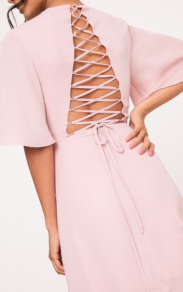 Lucilla Dusty Pink Lace Up Detail Maxi Dress 5