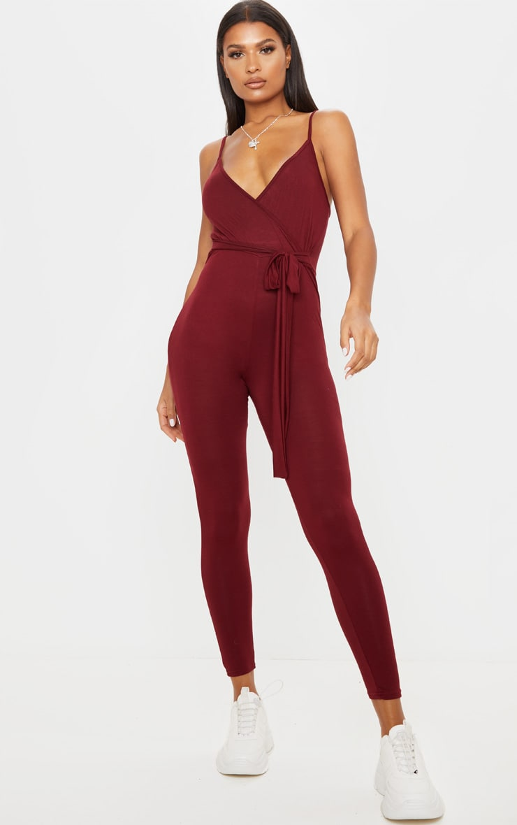 Burgundy Jersey Strappy Wrap Tie Waist Jumpsuit 1