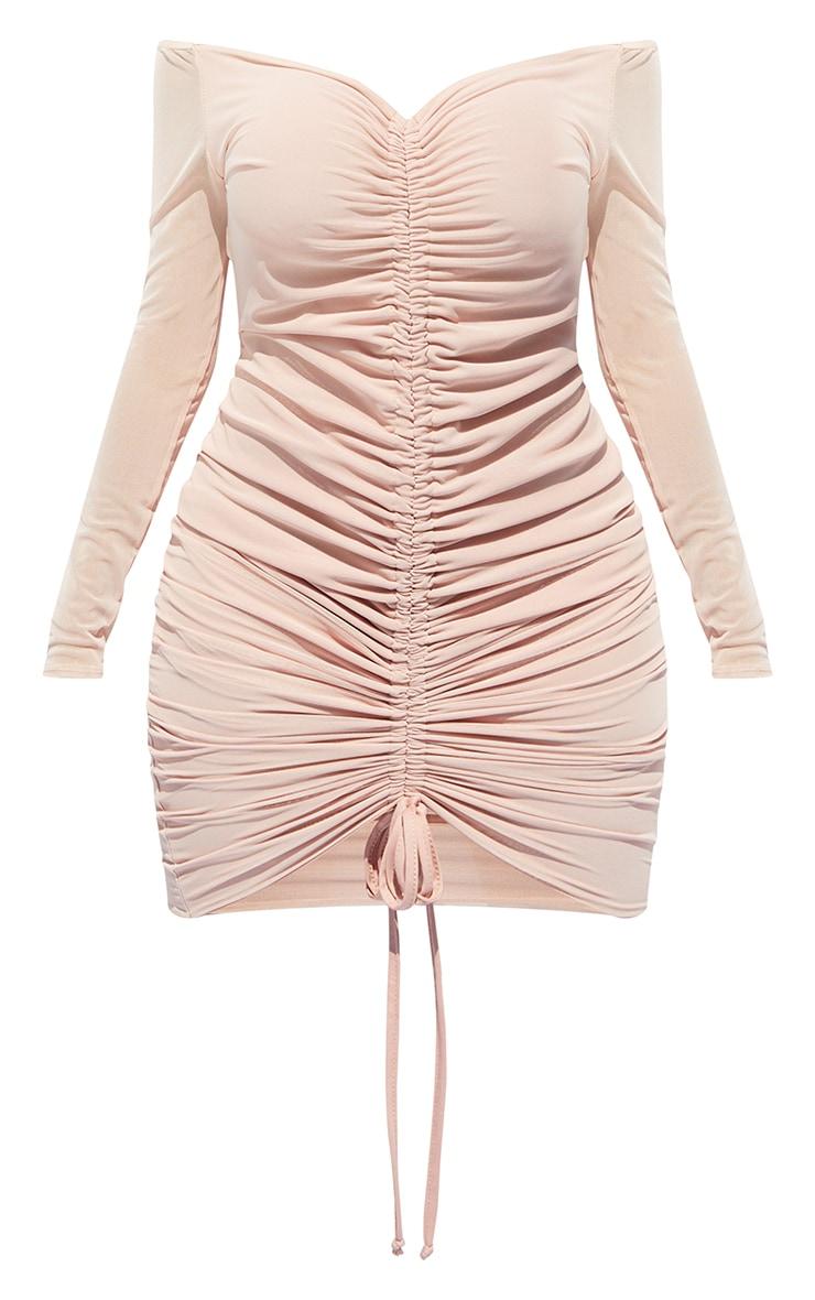 Shape Dusty Pink Mesh Ruched Bardot Midi Dress 5