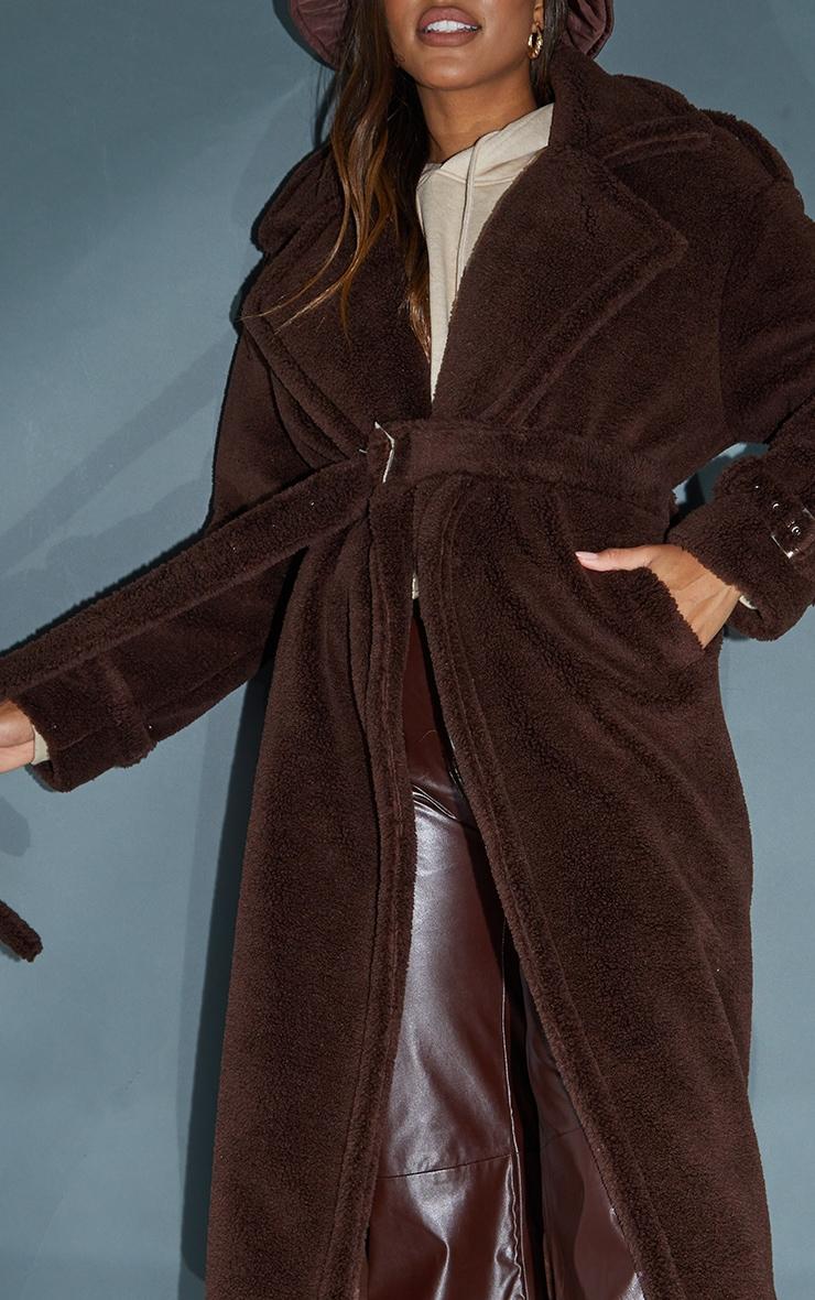 Chocolate Premium Teddy Bear Borg Military Trims Coat image 4