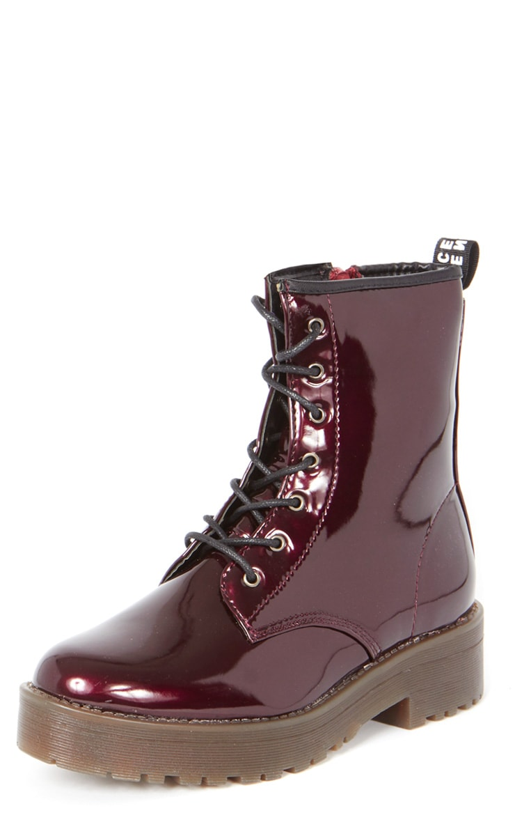 Kat Oxblood Patent Lace Up Boot  3