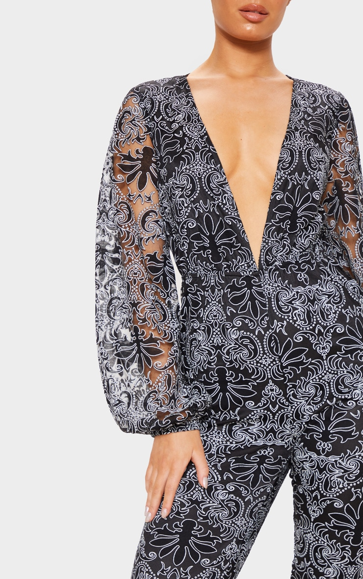 Black Sheer Paisley Long Sleeve Jumpsuit 5