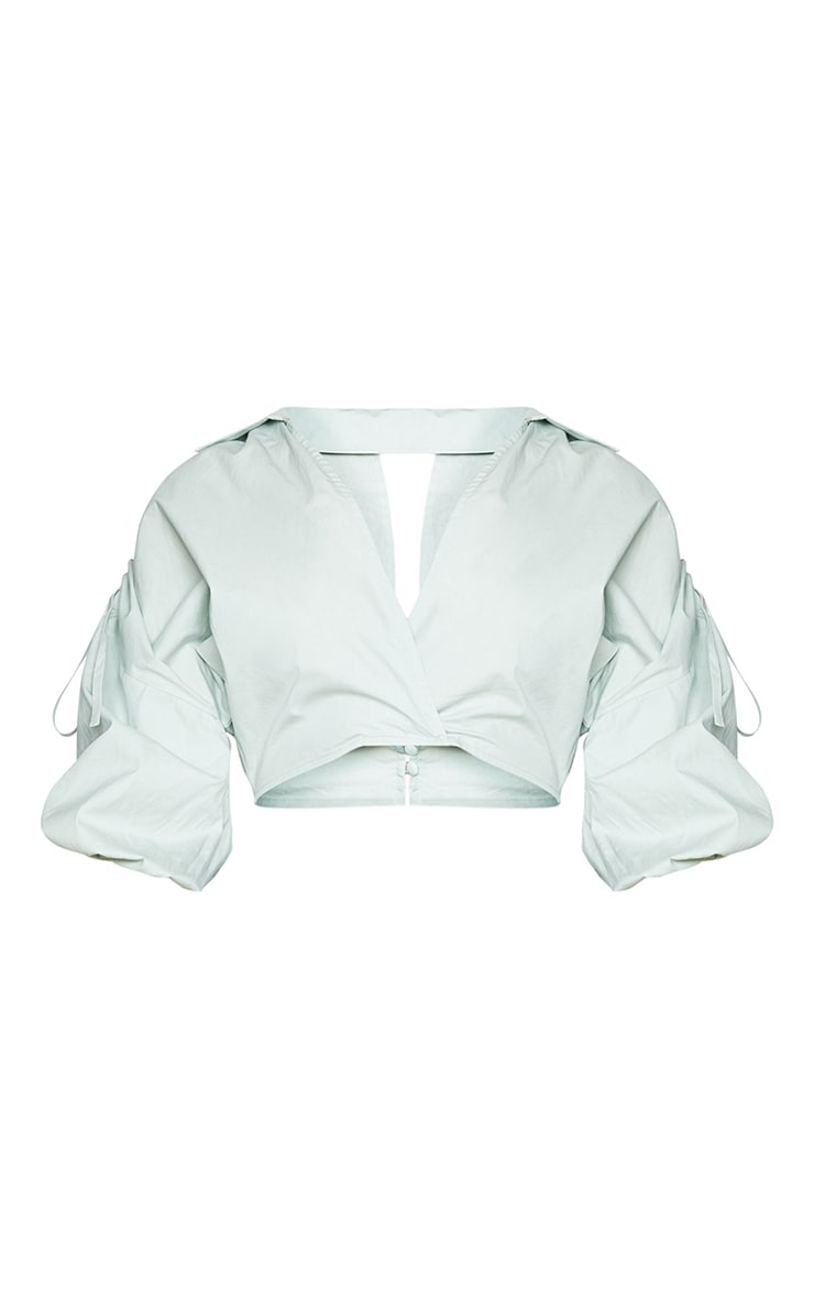 Sage Woven Plunge Ruched Sleeve Cropped Blouse 5