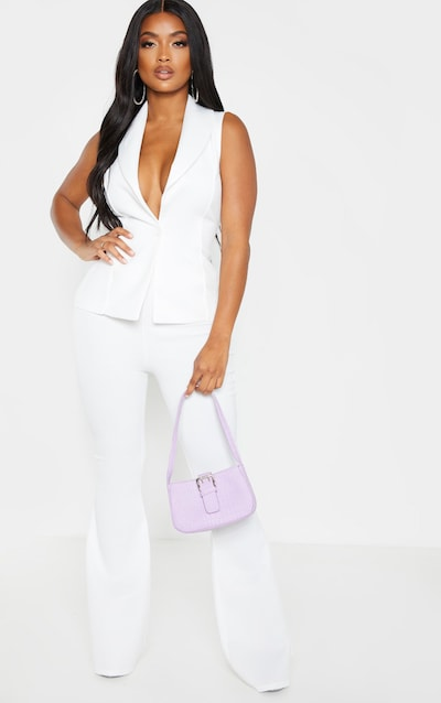 Shape White High Waisted Flared Trouser