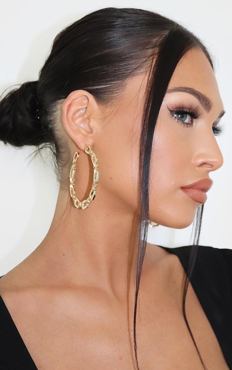 Gold Twisted Chain Hoop Earrings 3