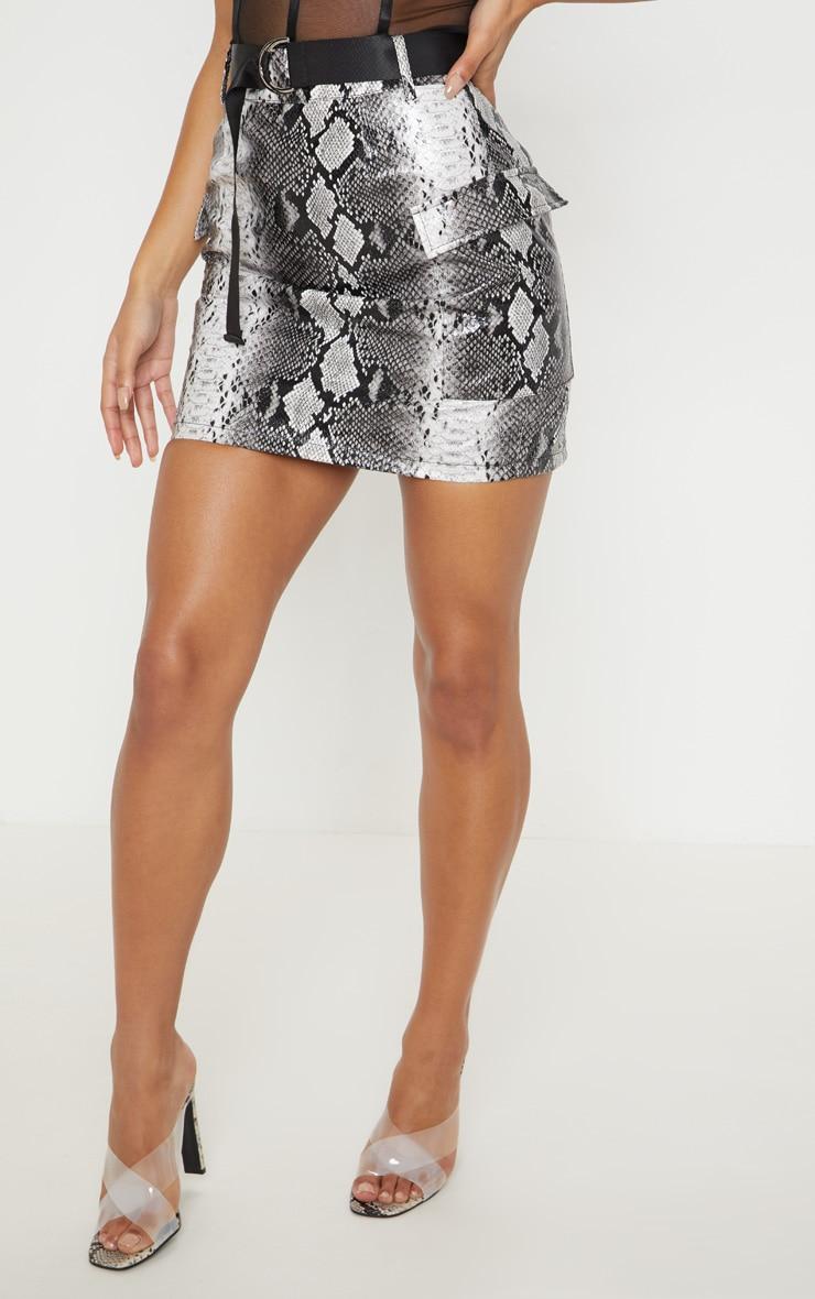 Grey Snakeskin Belted Mini Skirt 2