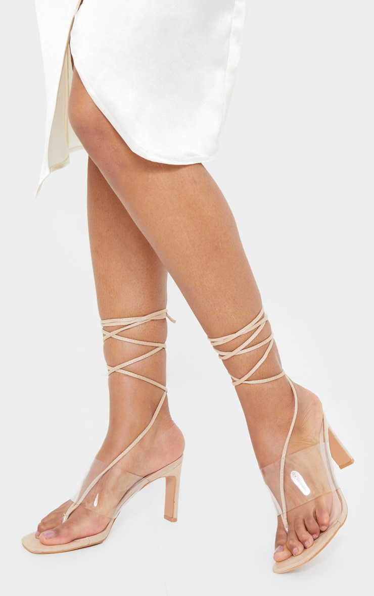 Nude Toe Thong Lace Up Strappy Flat Heel Sandals 3