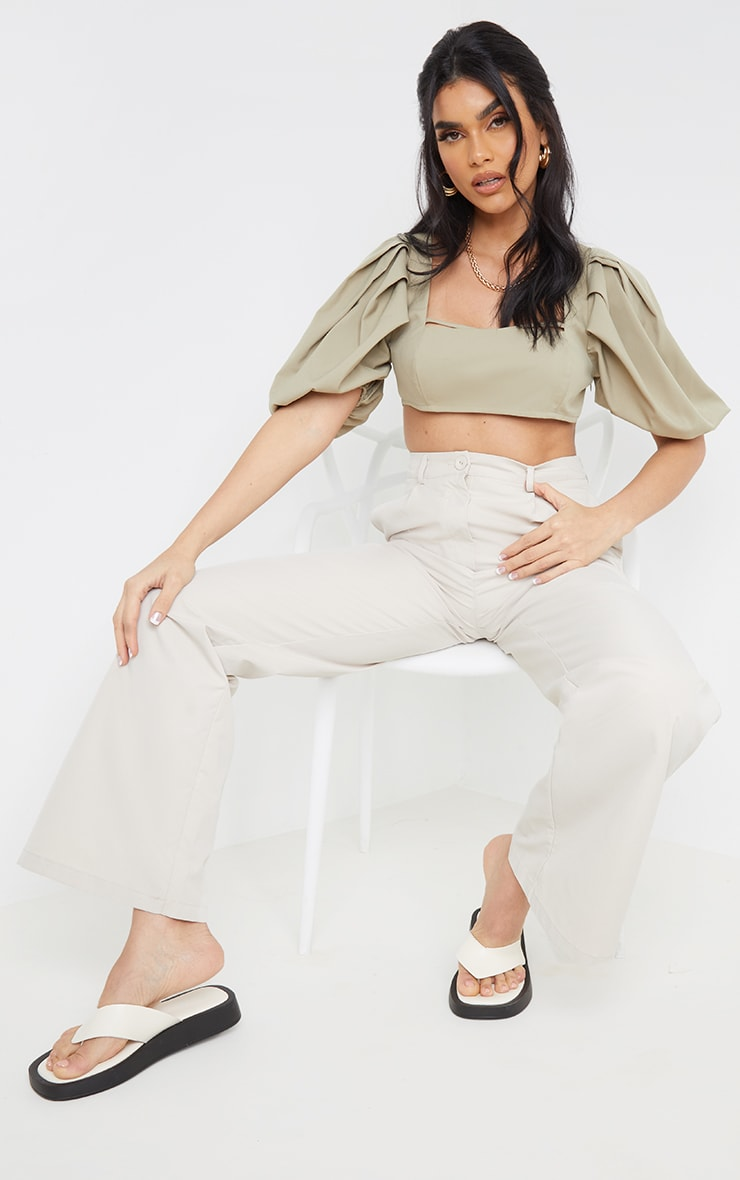 Sage Green Woven Pleat Balloon Sleeve Square Neck Crop Top 3