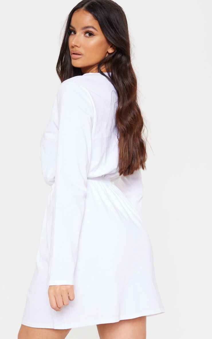 White Elasticated Waist Long Sleeve T Shirt Dress 2