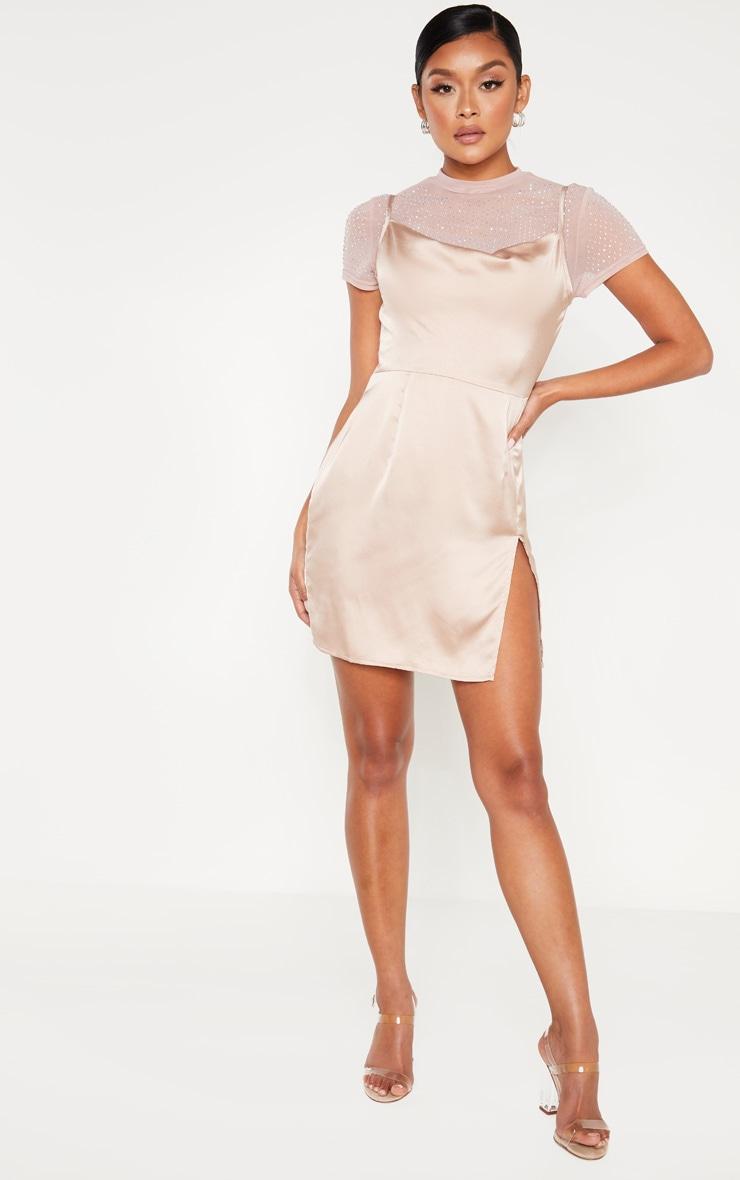 Rose Satin Cowl Mesh Diamante 2 in 1 Bodycon Dress  4