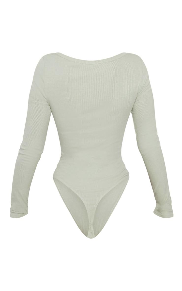 Sage Khaki V Neck Rib Bodysuit 4