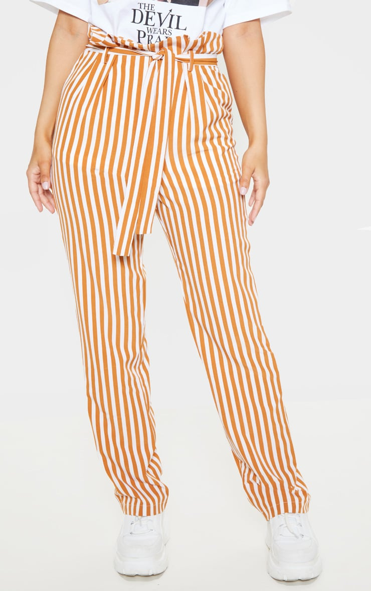 Petite Stone Vertical Stripe Tie Belt Pants 2