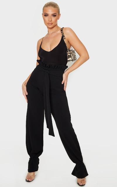 Black Drawstring Hem Paperbag Waist Trousers