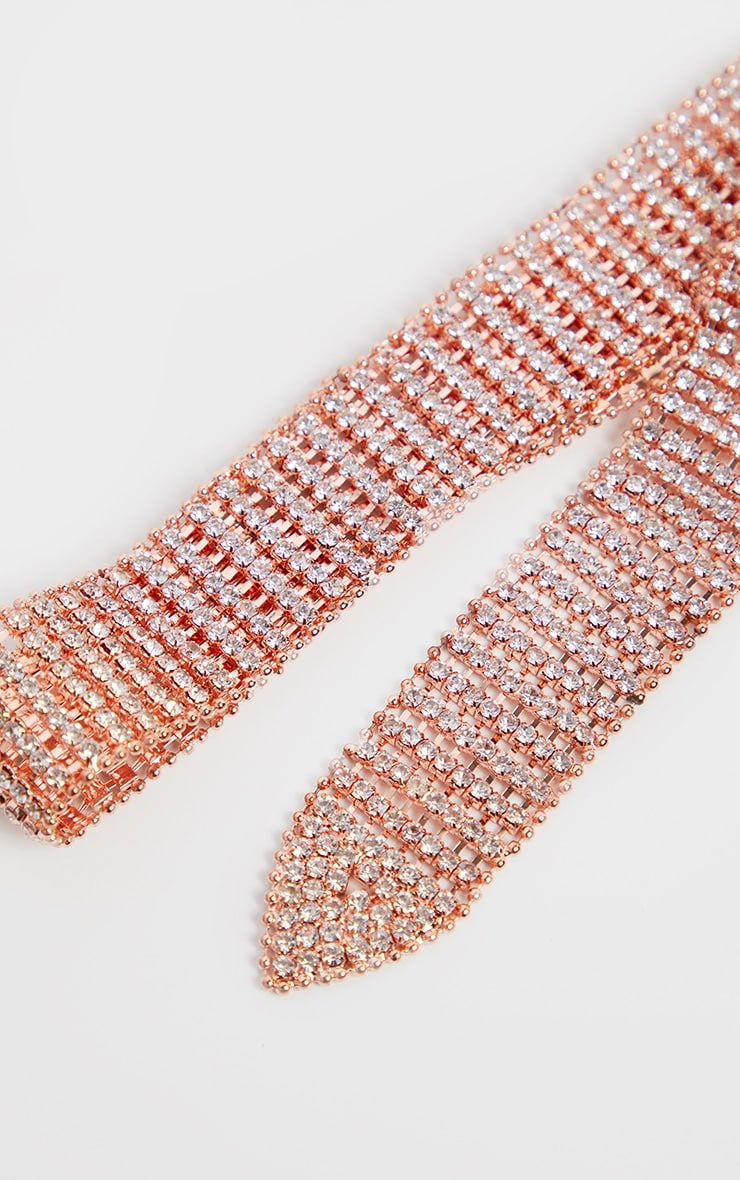 Rose Gold Diamante Chain Link Belt 3