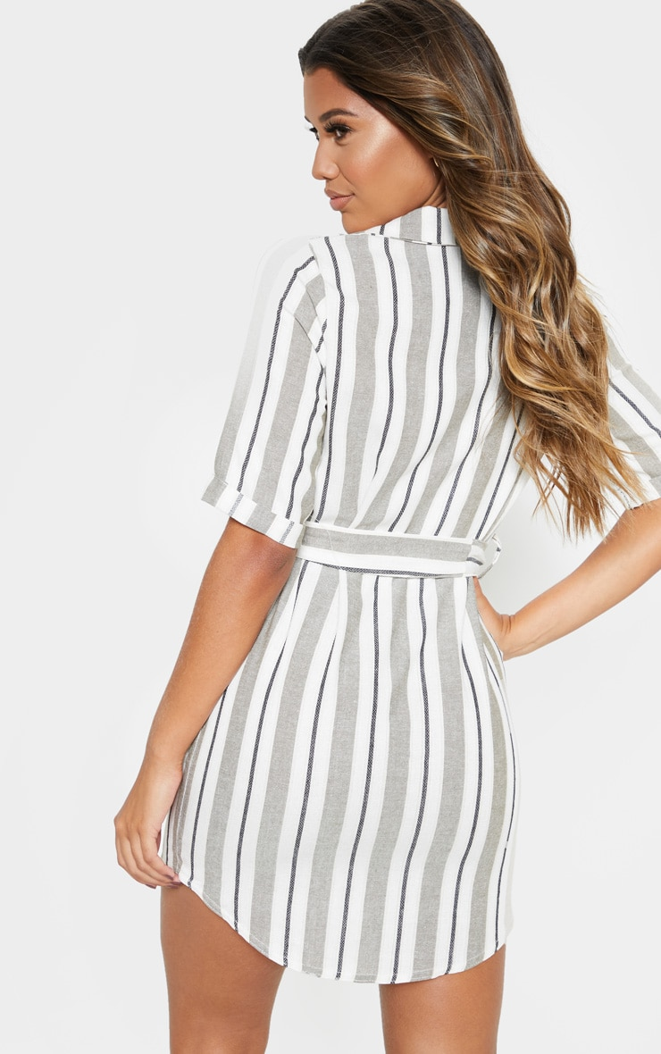 Khaki Woven Stripe Button Through Shirt Dress 2