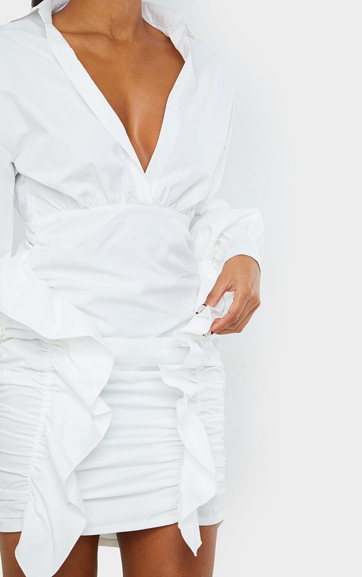 White Plunge Ruched Skirt Long Sleeve Shirt Dress 4