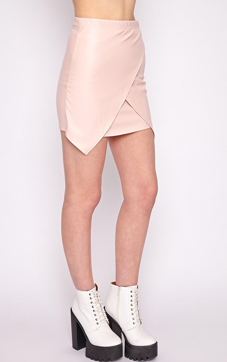 Valerie Pink Asymmetrical Leather Skirt 4