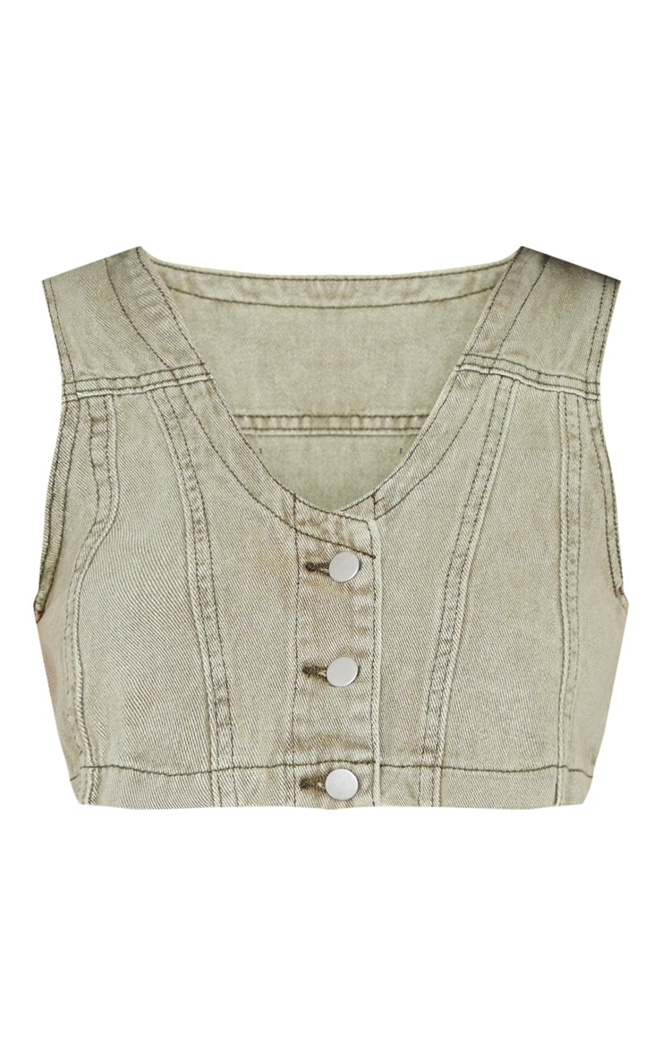 Washed Khaki Denim Button Up Sleeveless Crop Top 5