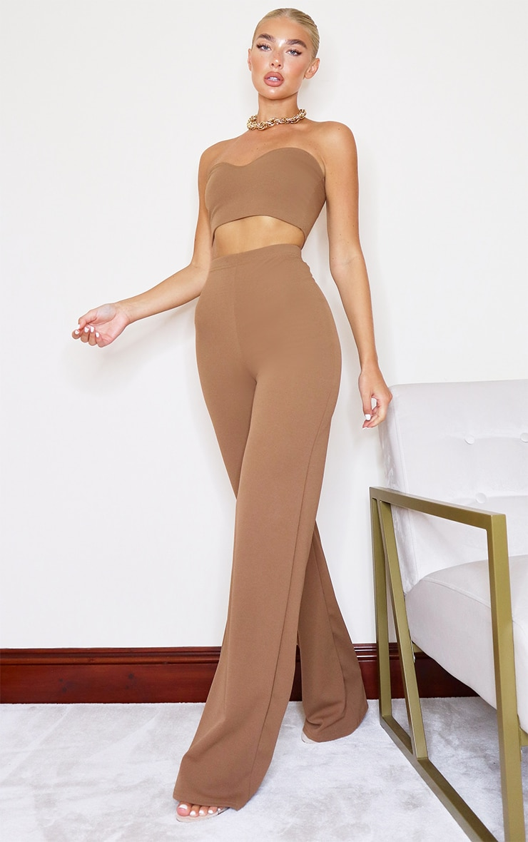 Camel Crepe High Waisted Wide Leg Trousers 1
