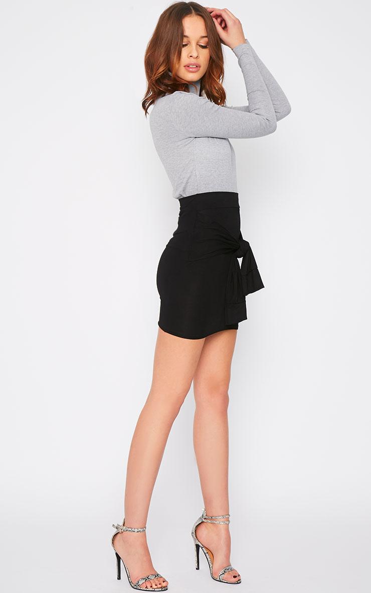 Hanneli Black Tie Front Mini Skirt 5