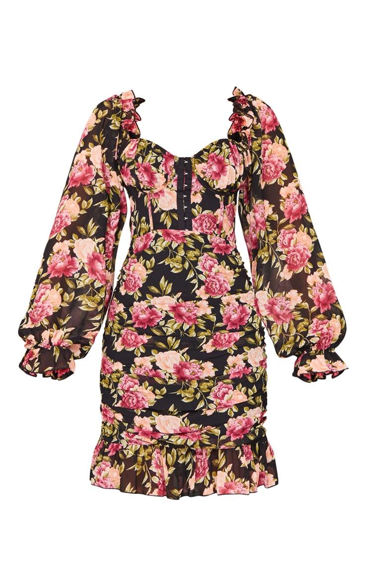 Black Rose Print Corset Detail Ruched Bodycon Dress 5