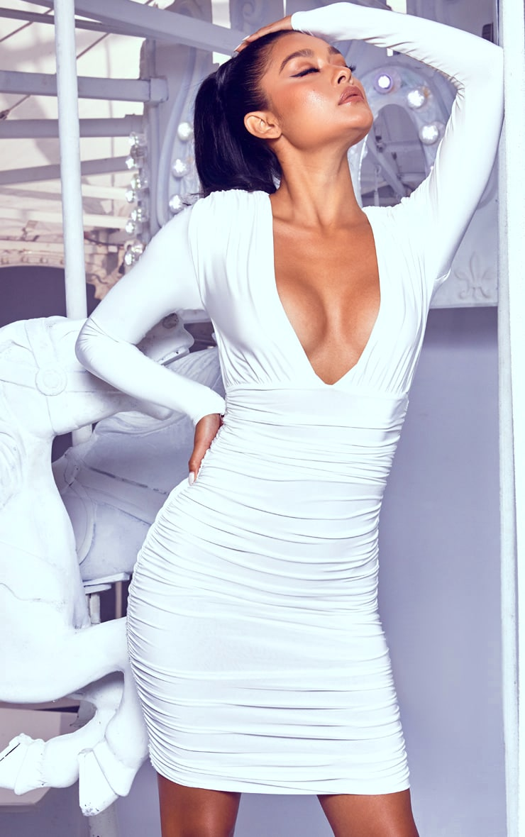 White Ruched Plunge Bodycon Dress 4