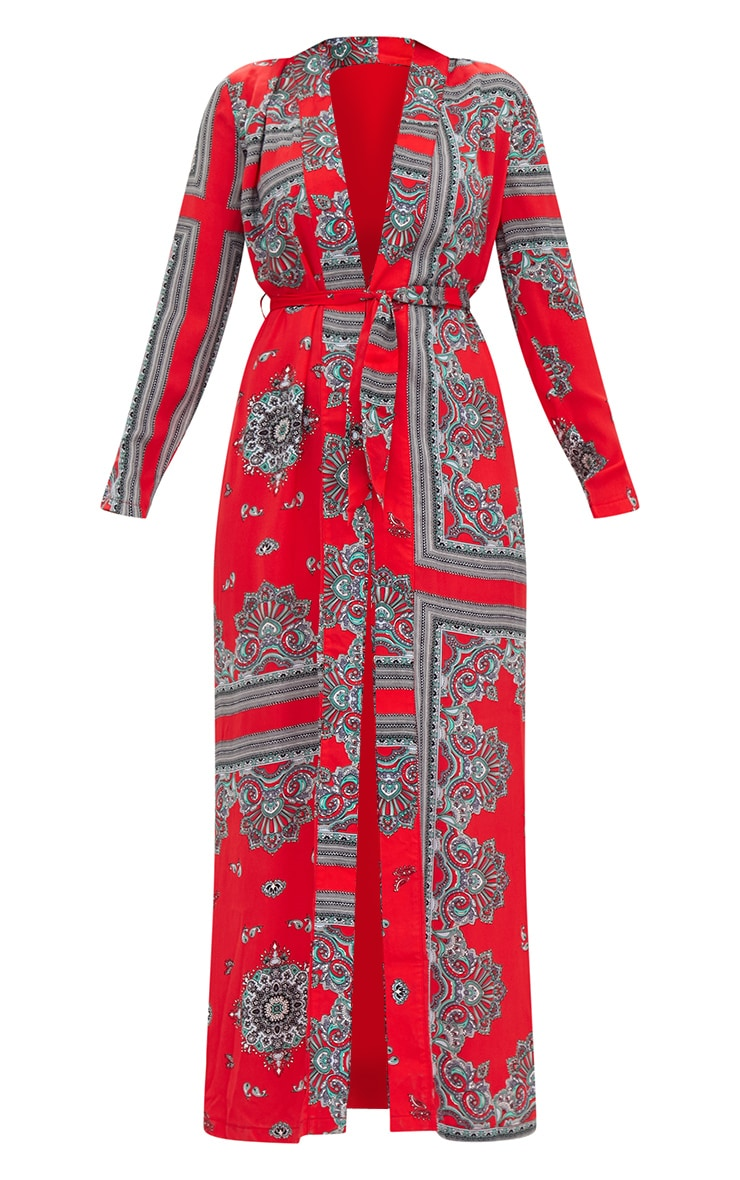 Red Silky Paisley Duster Coat 3