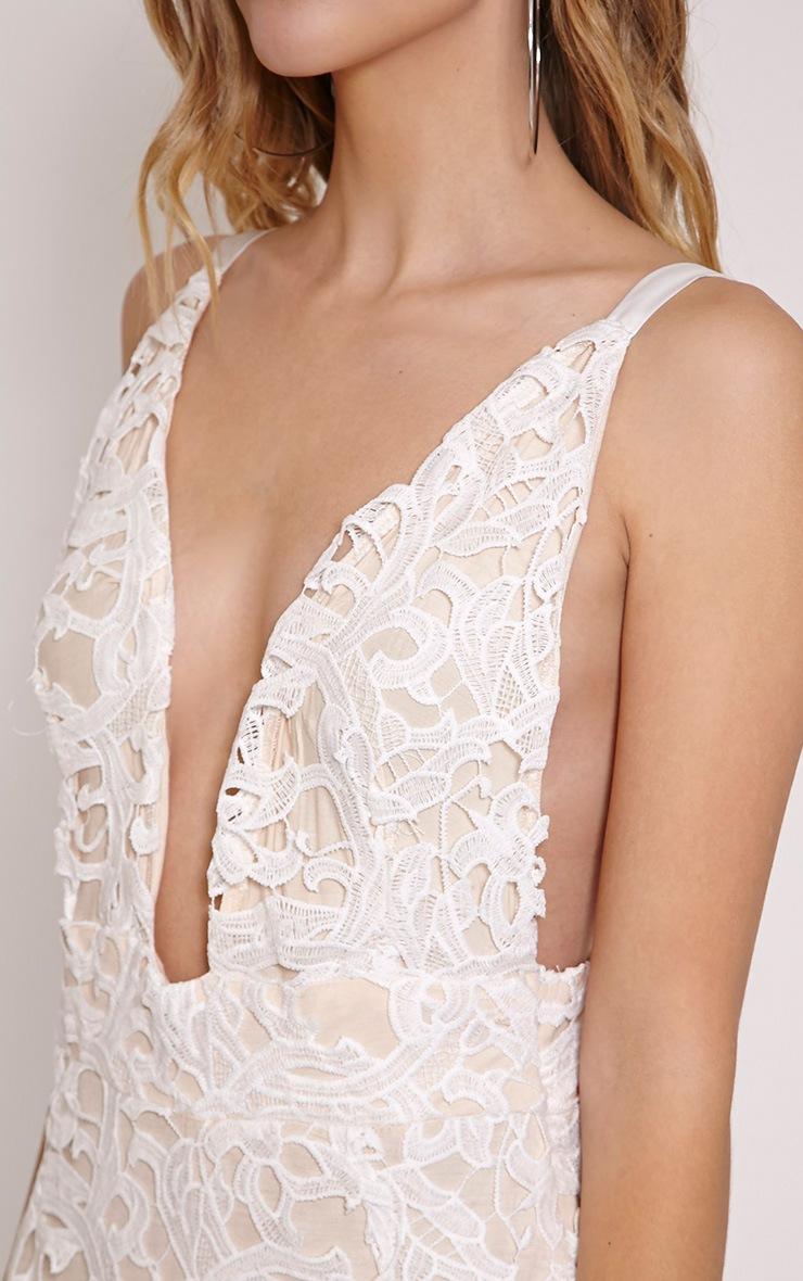 Luinna Cream Crochet Lace Plunge Midi Dress 5