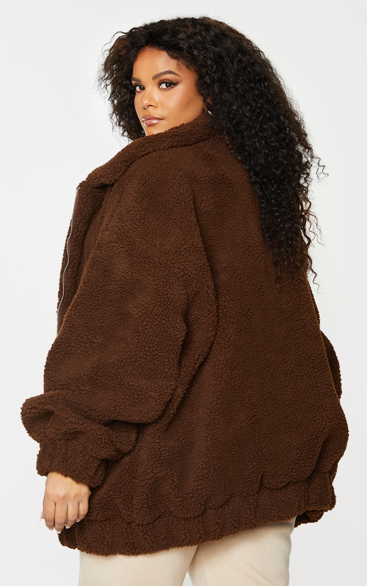 Plus Chocolate Brown Oversized Borg Pocket Front Coat 2