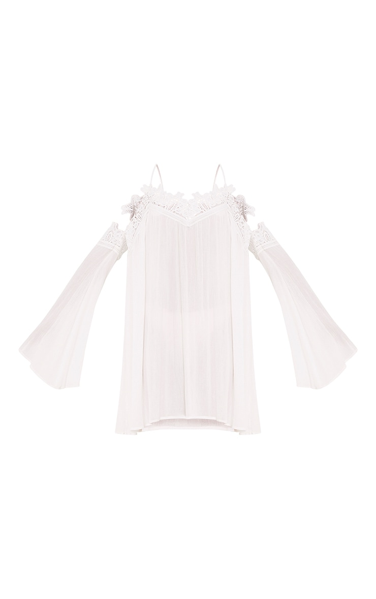 Marisol White Cheesecloth Cold Shoulder Choker Swing Dress 3