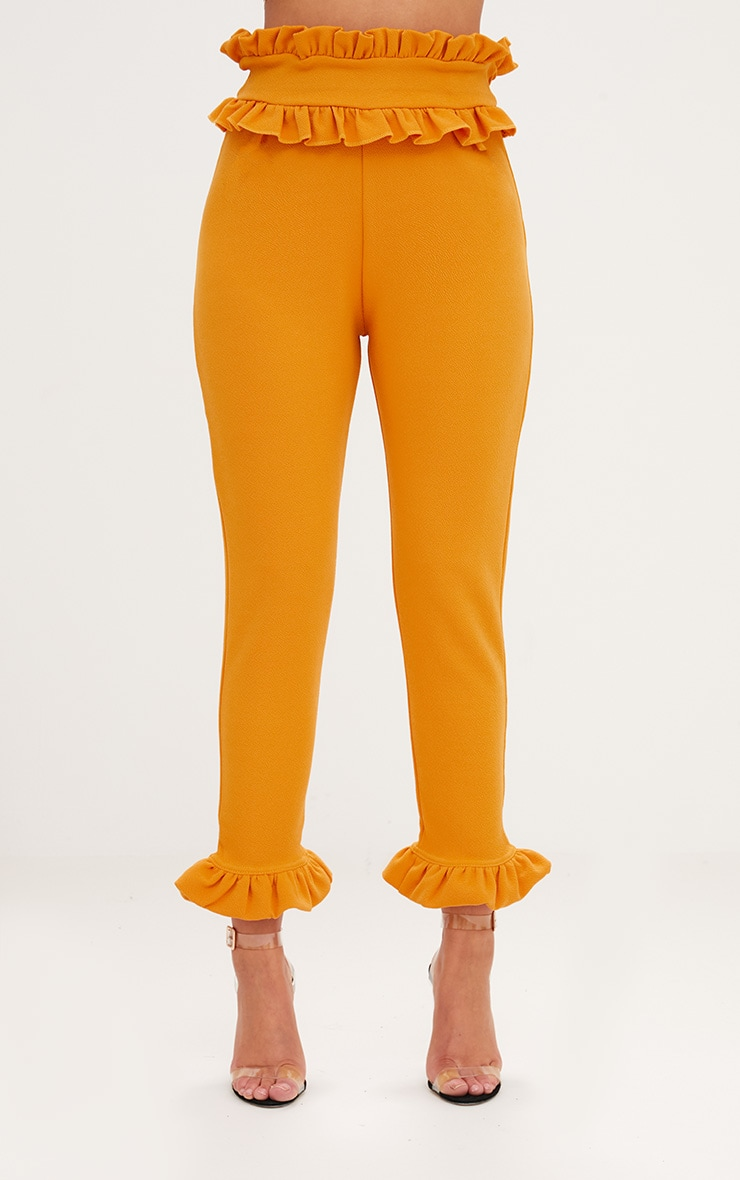 Mustard Frill Trim Trousers 2