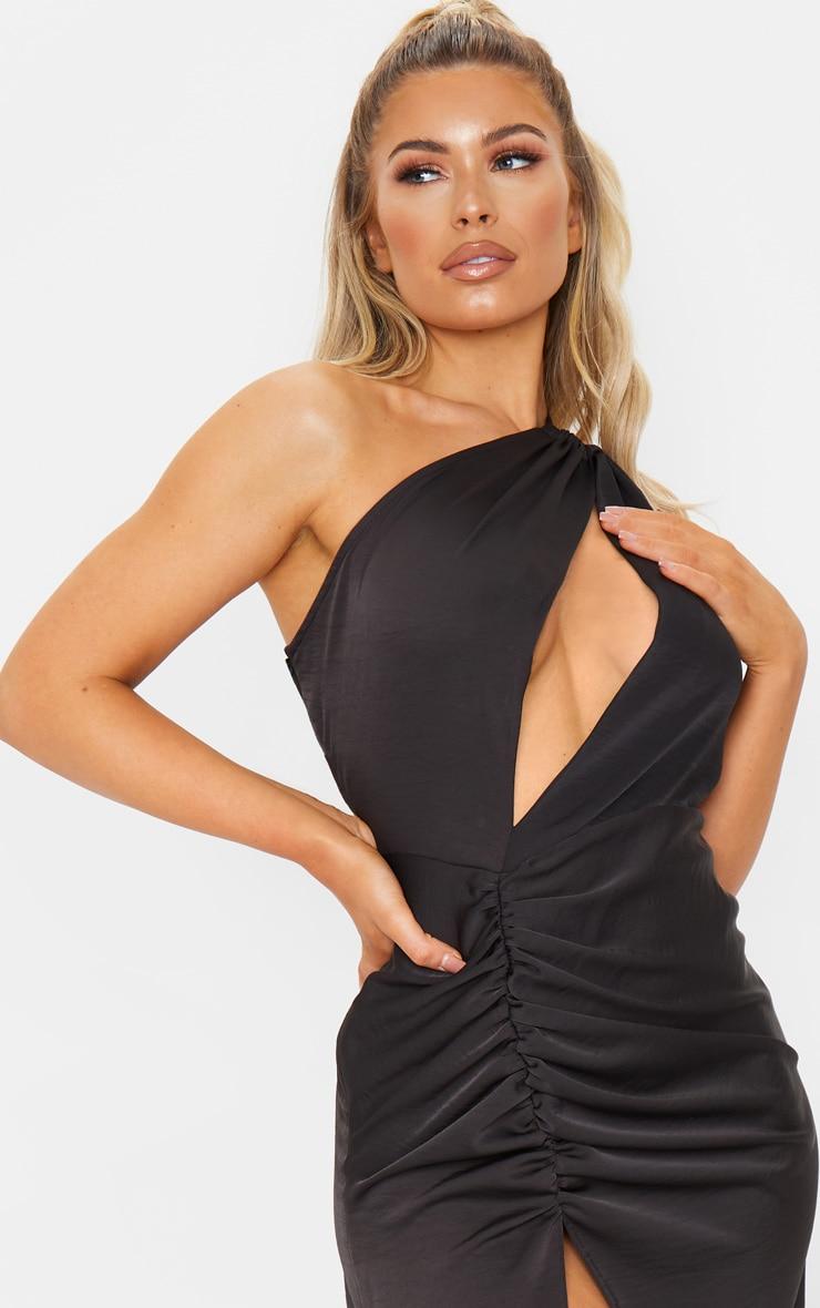Black One Shoulder Double Strap Midi Dress 4