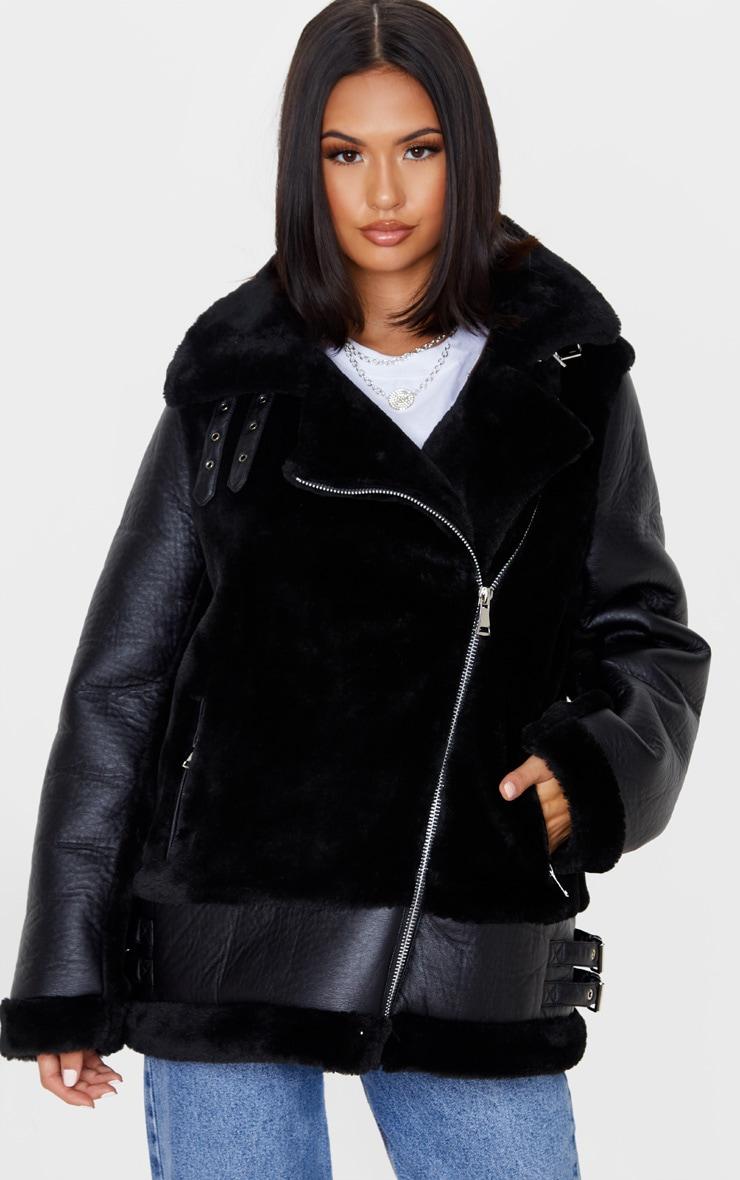 Black Oversized Faux Fur Panel Aviator 1