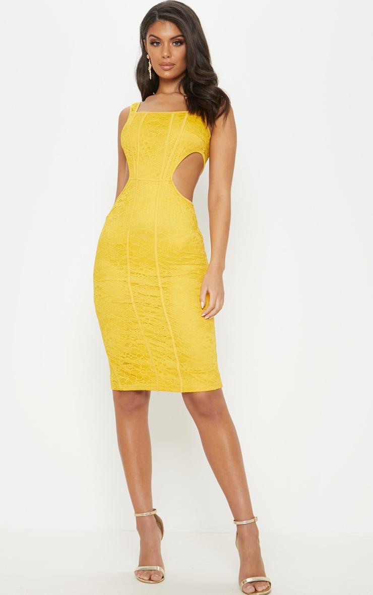 2d3ac40fbbc Mustard Lace Cut Out Side Square Neck Midi Dress image 1