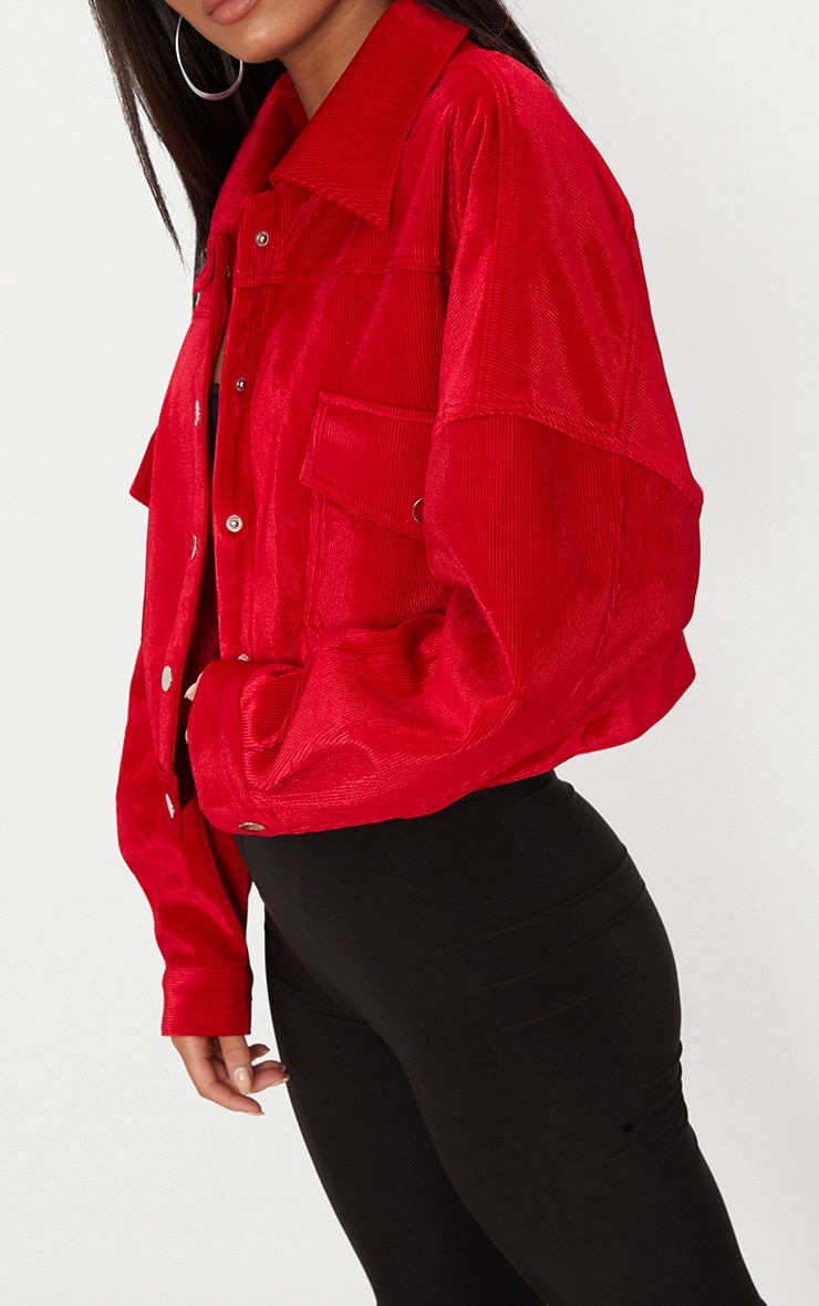 Red Cord Oversized Trucker Jacket 5