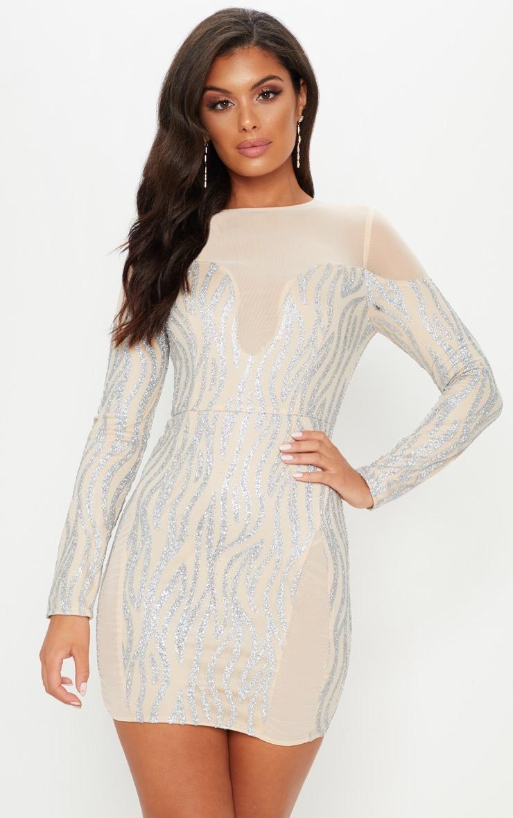 Nude Glitter Mesh Insert Bodycon Dress 1