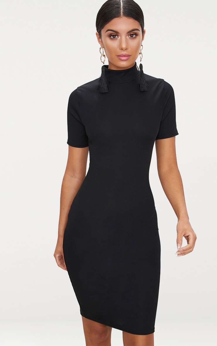 35b042d777 Black Ribbed Short Sleeve Midi Dress image 1