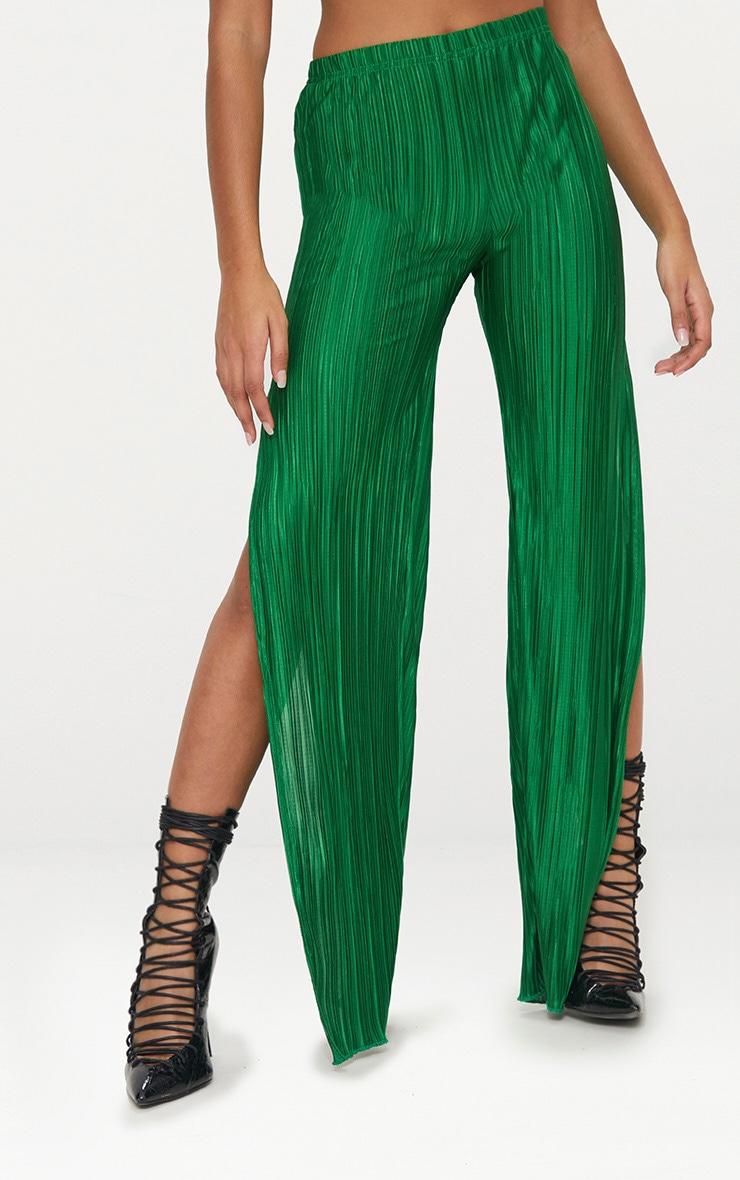 Petite Bright Green Pleated Split Wide Leg Trousers 2