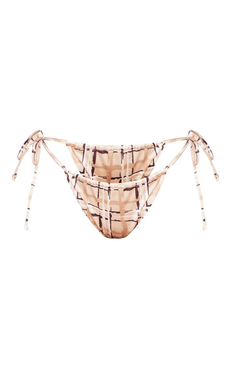 Plus Cream Check Print High Waist Bikini Bottom 5