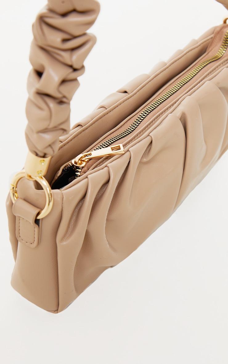 Sand Ruched Front And Handle Shoulder Bag 4