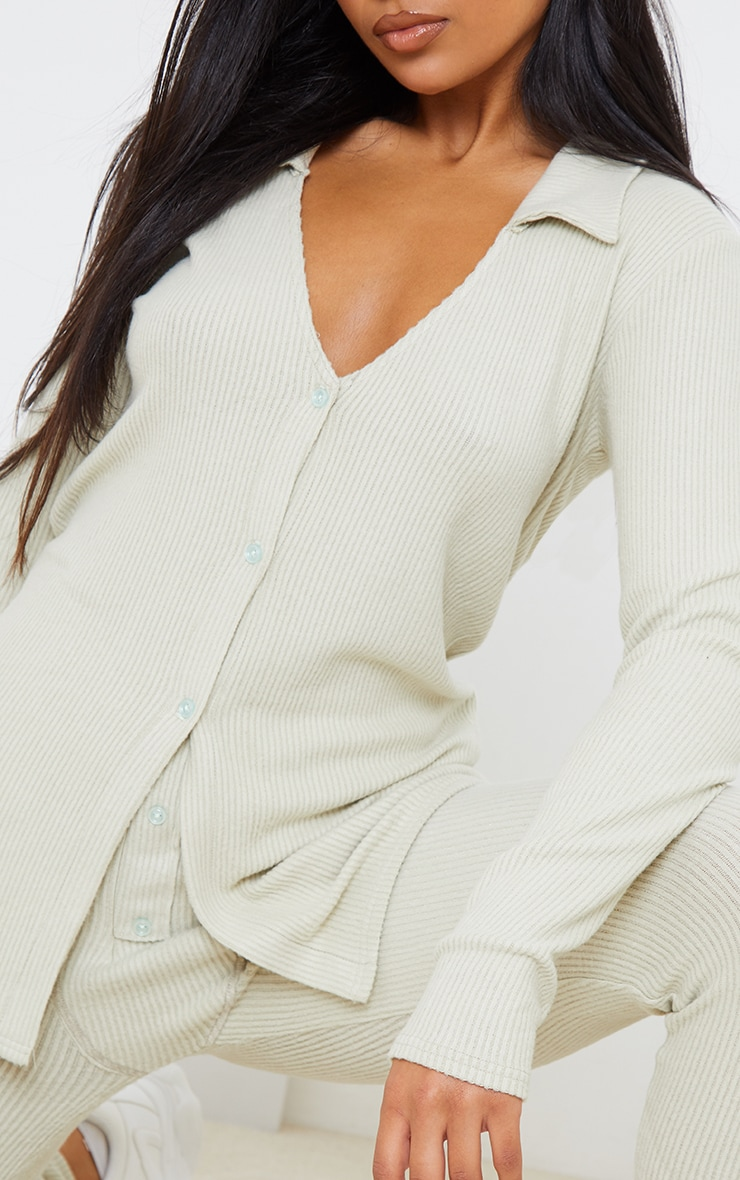Sage Green Brushed Rib Button Front Long Sleeve Shirt 4