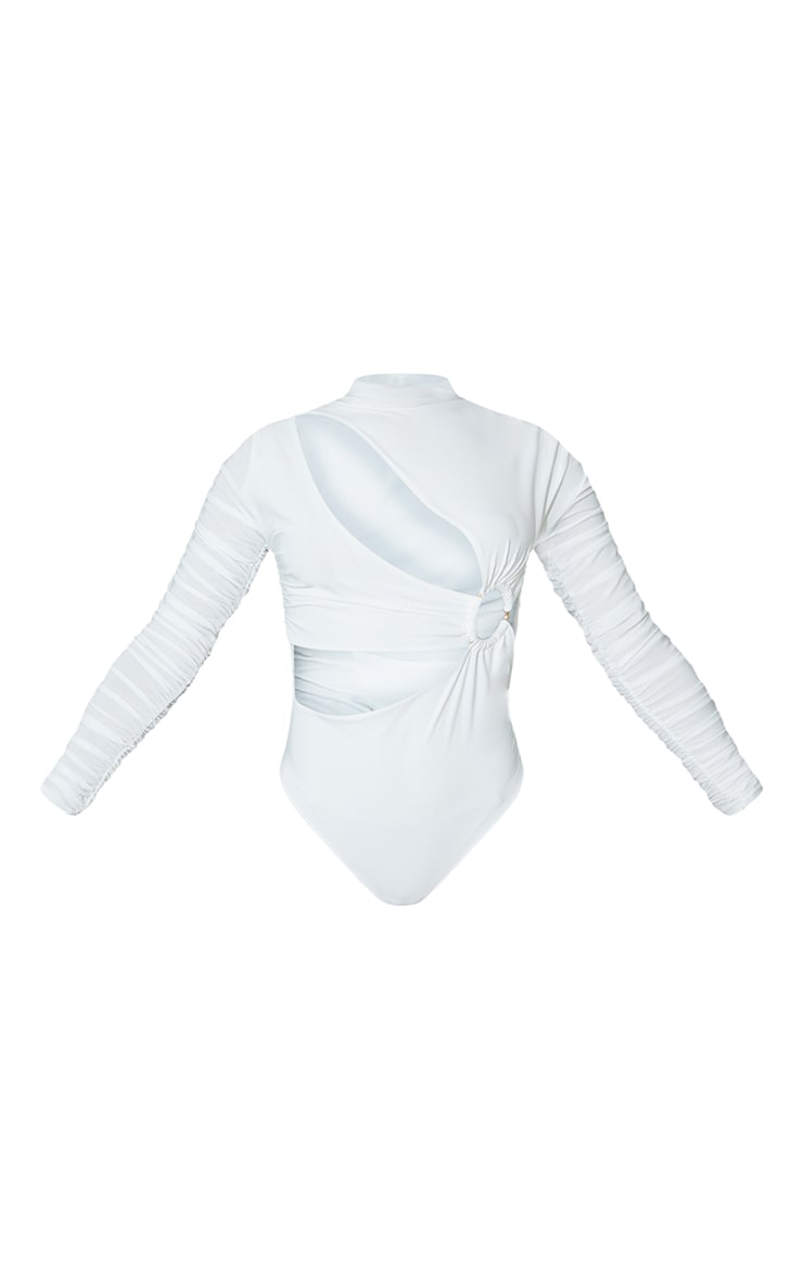 White Slinky Cut Out Long Sleeve Bodysuit 5