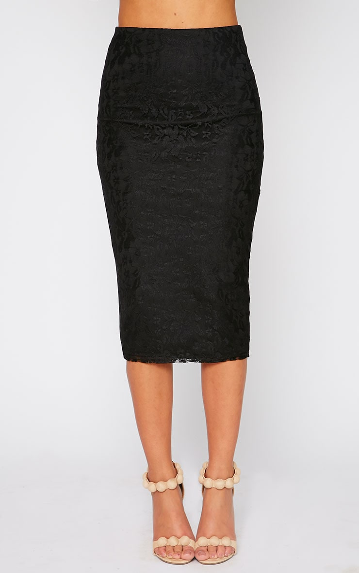 Danita Black Lace Front Midi Skirt 2