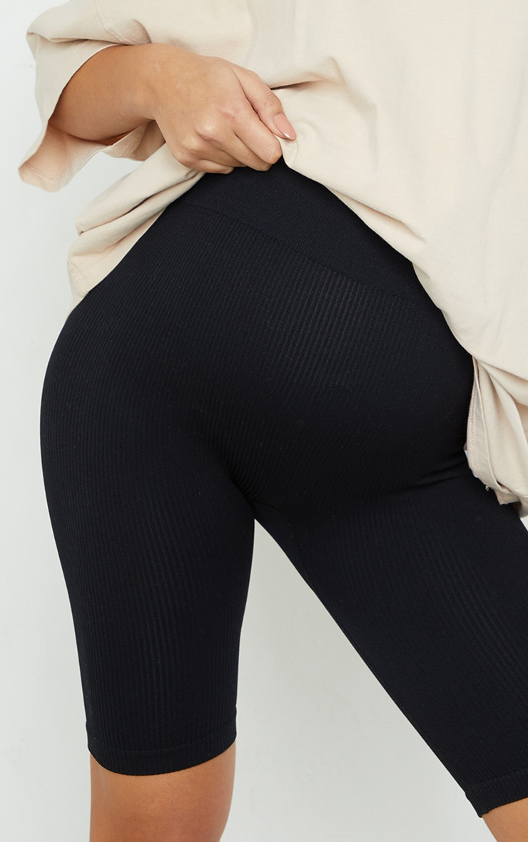 Maternity Black Structured Contour Rib Cycle Shorts 5