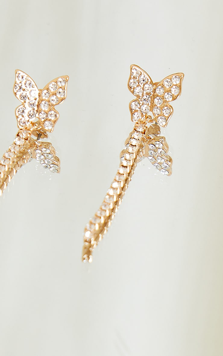 Gold Diamante Butterfly Tassle Earrings 3