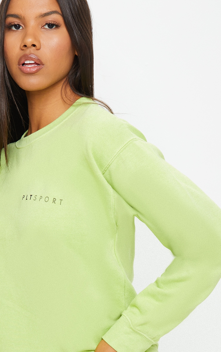 PRETTYLITTLETHING Lime Wash Sports Sweater 4