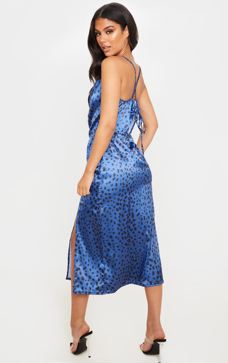 Blue Satin Leopard Cowl Front Midi Dress 2
